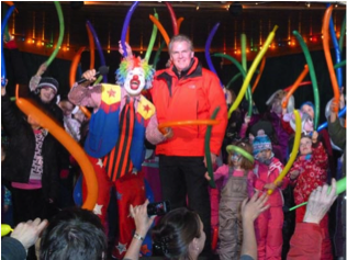 Coucillor Bannon and Doo Doo The Clown at the Stouffville Winter Carnival, Musselman's Lake.