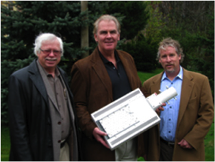 Rick Wigmore, MLRA President, Councillor Bannon & John Johnston, CEO of ProTerra LED seen here with new LED Streetlight