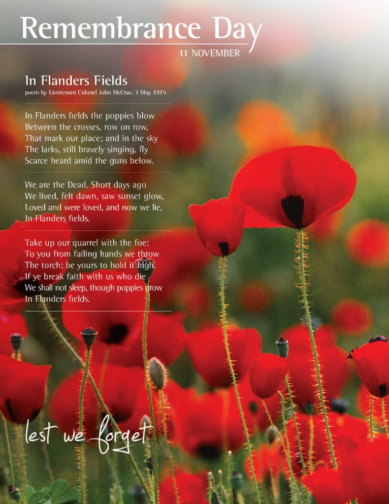 Remembrance Day. Lest we forget