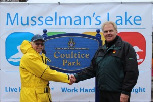 Rick Wigmore, President of the MLRA & Councillor Phil Bannon celebrate the unveiling of the Coultice Park sign
