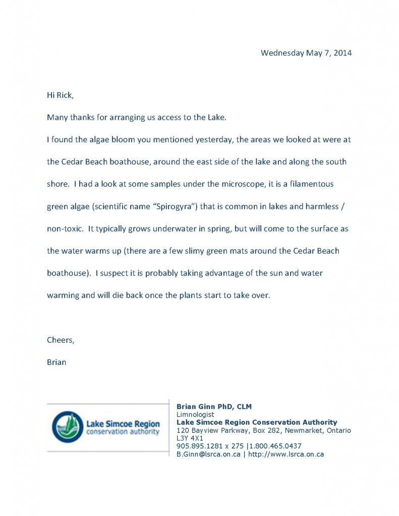 LSRCA letter regarding Algae 0507141 (1)