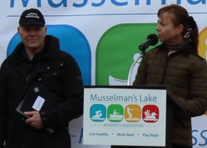 Dr. Neil Hutchinson of Hutchinson Environmental Sciences Ltd. with Cheryl Shindruck, Senior Vice President Geranium Corporation presenting the Lake Report at Earth Day