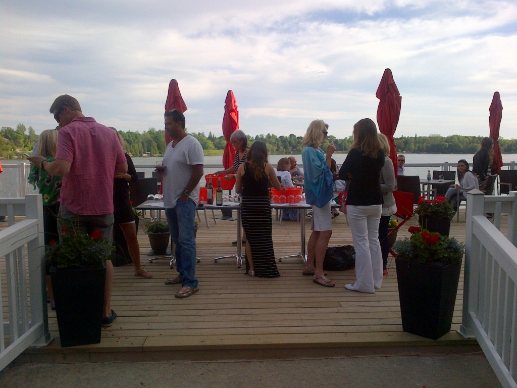 Fishbones By The Lake patio overlooking beautiful Musselman's Lake is very inviting.