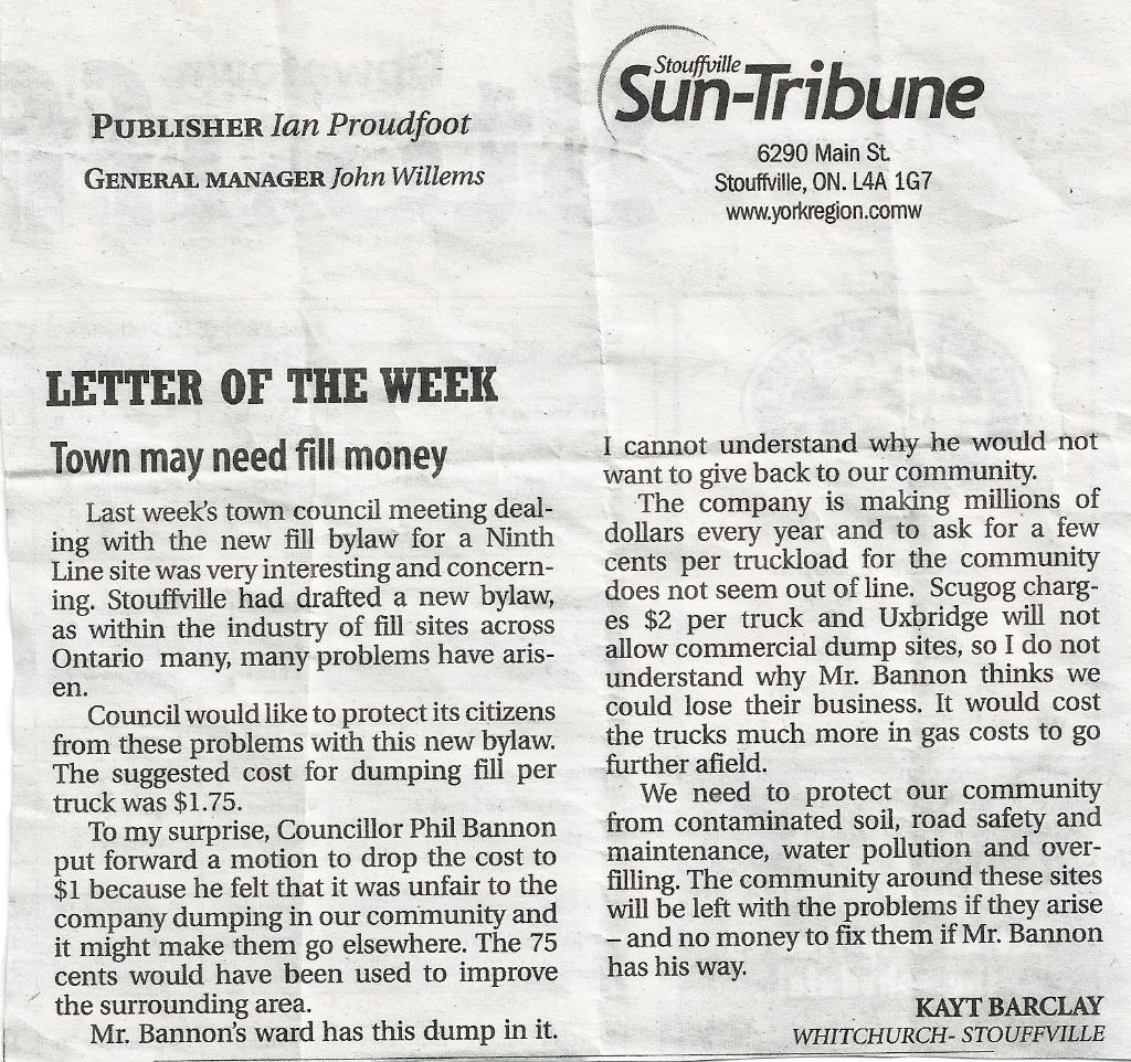 "Stouffville Sun Tribune ""Letter Of The Week""."