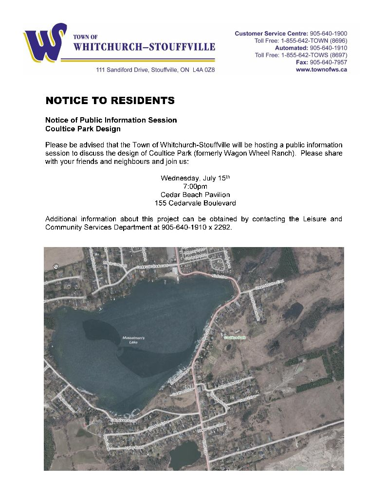 Notice of Public Information Session - Coultice Park Design