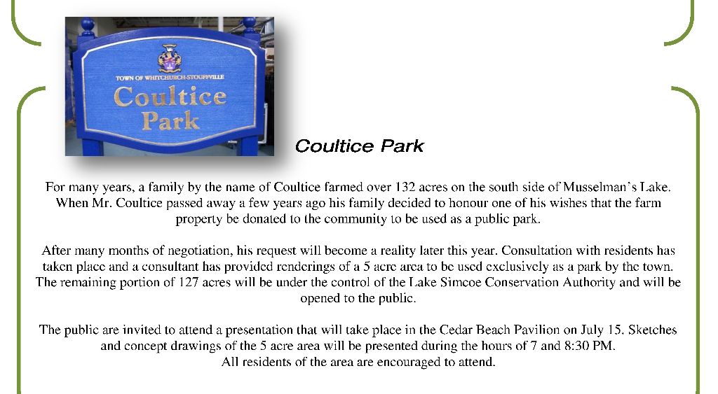 Important Meeting about Coultice Park - excerpt from Ward2News