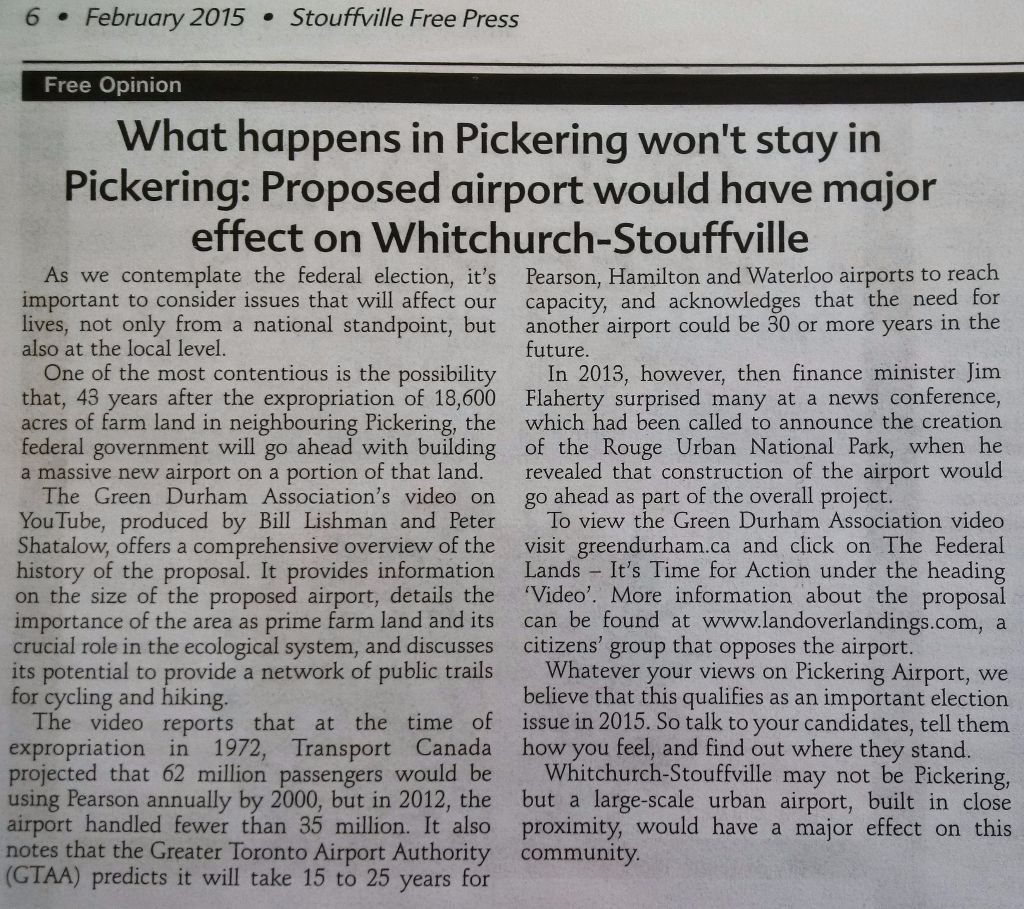 Courtesy of the Stouffville Free Press. Proposed Pickering Airport. Click on image to enlarge